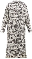 Joseph Gaya Montage-print Satin-faille Shirtdress - Womens - Black White