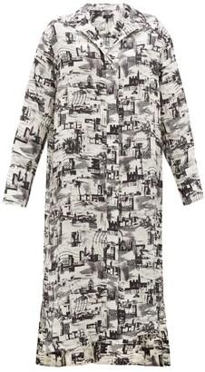 Joseph Gaya Montage-print Satin-faille Shirtdress - Womens - Black White