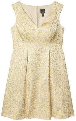 Adrianna Papell Jacquard Pleated Fit-and-Flare Dress (Yellow Multi) Women's Dress