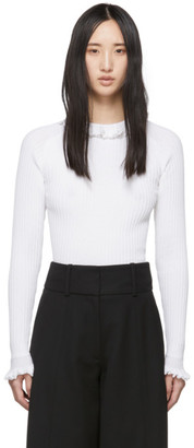 See by Chloe White Ruffled Rib Sweater