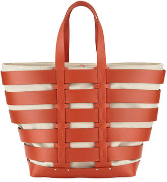 Paco Rabanne Cage East-West Sleek Leather & Canvas Tote Bag