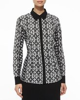 Escada Graphic Floral Mixed-Print Blouse, Black/White