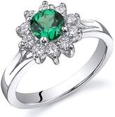Ice 1/2 CT TW Simulated Emerald Sterling Silver Fashion Ring with CZ Accents