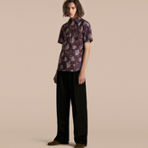 Burberry Short-sleeved Peony Rose Print Cotton Shirt