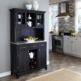 Home Styles Black Buffet with Stainless Top & Hutch
