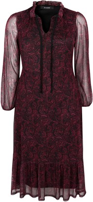 Evans Red Paisley Print Mesh Maxi Dress