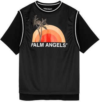 Palm Angels Sunset layered cotton and mesh T-shirt