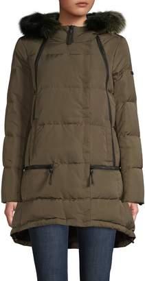 Derek Lam 10 Crosby Fox Fur-Trim Quilted Down Coat