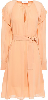 Chloé Pleated Ruffle-trimmed Silk-georgette Dress