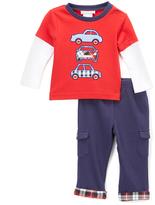 Wendy Bellissimo Red Car Layered Tee & Plaid-Hem Leggings - Infant