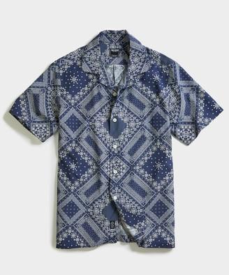 Todd Snyder Bandana Print Camp Collar Short Sleeve Shirt in Navy