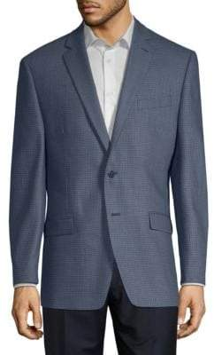 Calvin Klein Mini Grid Slim-Fit Wool Jacket