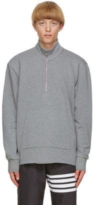 Thom Browne Grey Intarsia 4-Bar Sweatshirt