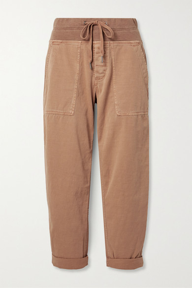 James Perse Cropped Cotton-blend Twill Cargo Pants - Tan