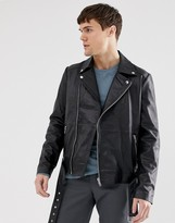 Barneys New York Barneys Originals real leather zipped biker jacket with belt