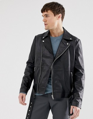 Barneys New York real leather zipped biker jacket with belt