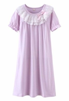 Coralup Girls Cotton Lace Nightgowns Nighties Princess Bowknot Nightdress Sleep Shirt for Toddler Pink 11-12 Years