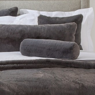 The White Company Super Soft Faux-Fur Boudoir Cushion, Charcoal, One Size