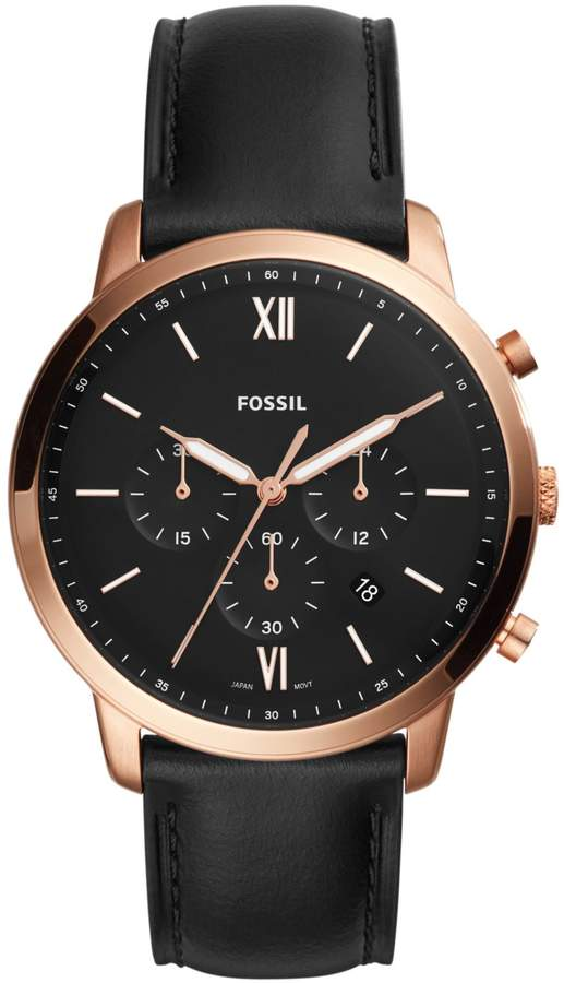 Fossil Neutra Chronograph Rose Goldtone Stainless Steel Black Leather Strap Watch
