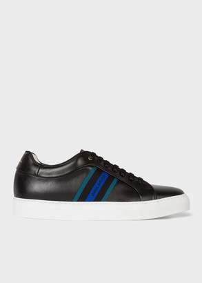 Men's Black Leather 'Basso' Trainers With 'Paul Smith' Webbing Panel