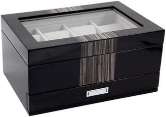 Bey-Berk Wenge Wood 8-Watch Box With Glass Top