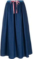 Semi-Couture Drawstring-Waist Denim Skirt