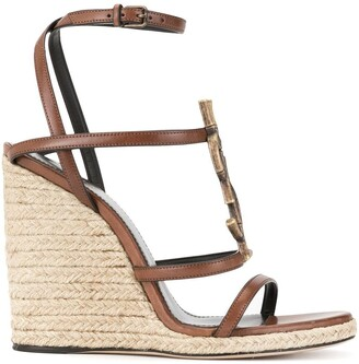 Saint Laurent Monogram Strappy Wedge Sandals