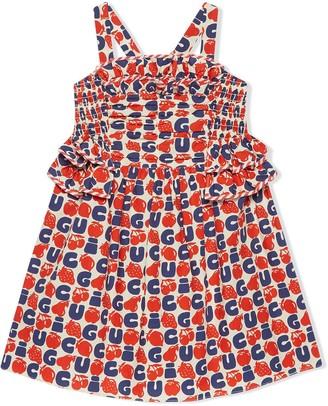 Gucci Kids Children's poplin dress with Gucci fruits