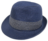 Navy Contrast-Band Straw Fedora