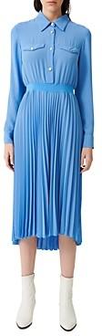 Maje Rosana Pleated Midi Shirtdress