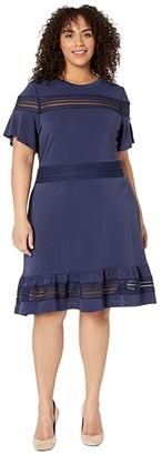 MICHAEL Michael Kors Size Mesh Mix Short Sleeve Dress (True Navy) Women's Dress