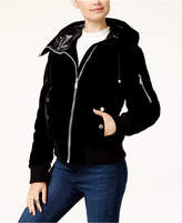 BCBGeneration Hooded Velvet Bomber Coat