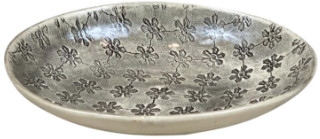 Wonki Ware - Small Etosha Bowl in Charcoal Mixed Pattern - 12cmx18cm | clay | charcoal - Charcoal
