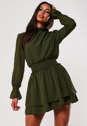 Missguided Dobby High Neck Shirred Waist Dress