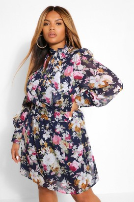boohoo Plus Floral Chiffon Pussybow Skater Dress