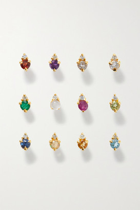 STONE AND STRAND Birthstone Gold Multi-stone Earring