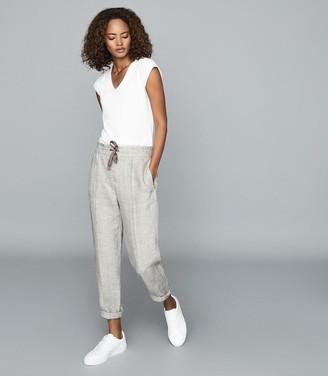Reiss Claude - Herringbone Linen Trousers in Oatmeal