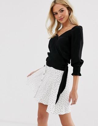 Pimkie wrap blouse in black