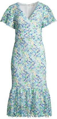 Shoshanna Audette Floral Flounce Dress