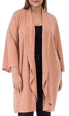 Bobeau B Collection by Curvy Ellen Waterfall Ribbed Open-Front Cardigan