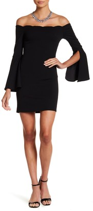 Want & Need Off-the-Shoulder Scallop Mini Dress
