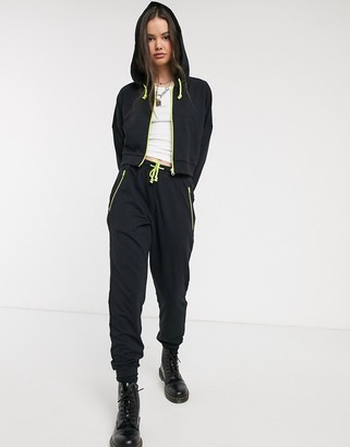 Noisy May joggers co-ord with contrast zip in black-Multi
