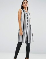 AX Paris Pinstriped Sleeveless Shirt