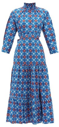 Evi Grintela El Fenn Floral-print Cotton Shirtdress - Blue Print