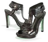 Nicole Miller Distressed Pewter Leather Heels