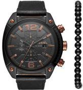 Diesel Advanced Overflow Leather-Strap Watch & Bracelet Set