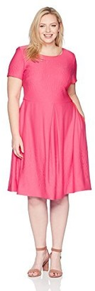 Taylor Dresses Women's Plus Size fit and Flare Stretch Knit Jacquard Dress