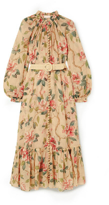 Zimmermann Kirra Belted Floral-print Plisse Cotton And Silk-blend Midi Dress