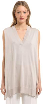 Calvin Klein Collection Fine Silk Knit Sleeveless Top