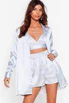 Womens Get Back to Bed Satin 3-Pc Pajama Shorts Set - blue - 6